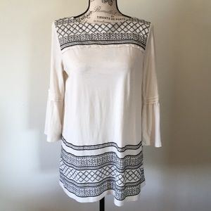 J. Jill Black/White Embroidered Bell Sleeve Top